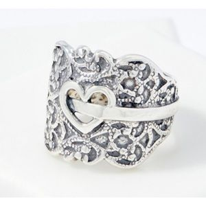 Or Paz Sterling Silver Open Heart Lace Design